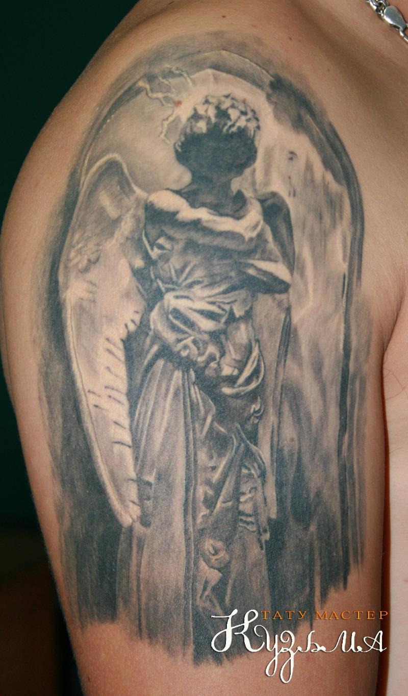 Фото тату мужские ангелы на плече